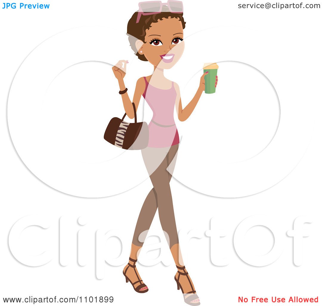 Clipart Stylish African American Or Hispanic Woman Holding A.