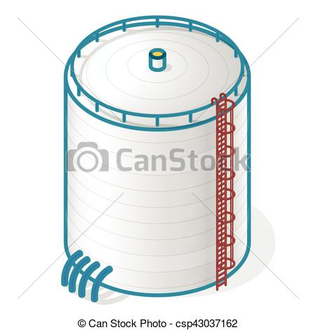 Clip Art Vector of Tank for storing water, gas, oil, oxygen and.