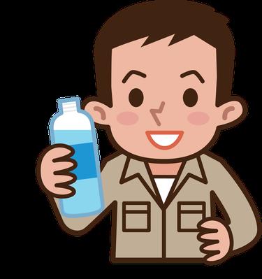Worker Drinking Water.