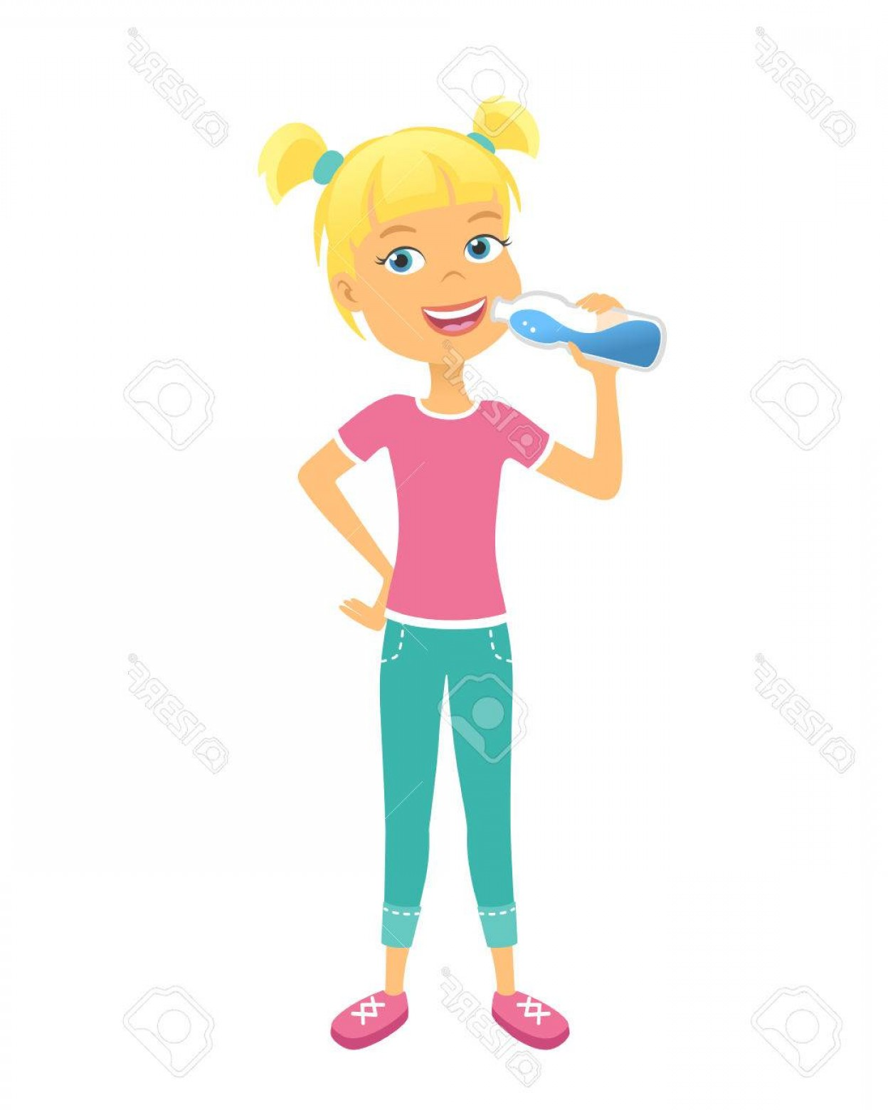 Cartoon Kids Drinking Water Cute Boy Girl Vector Clip Art.