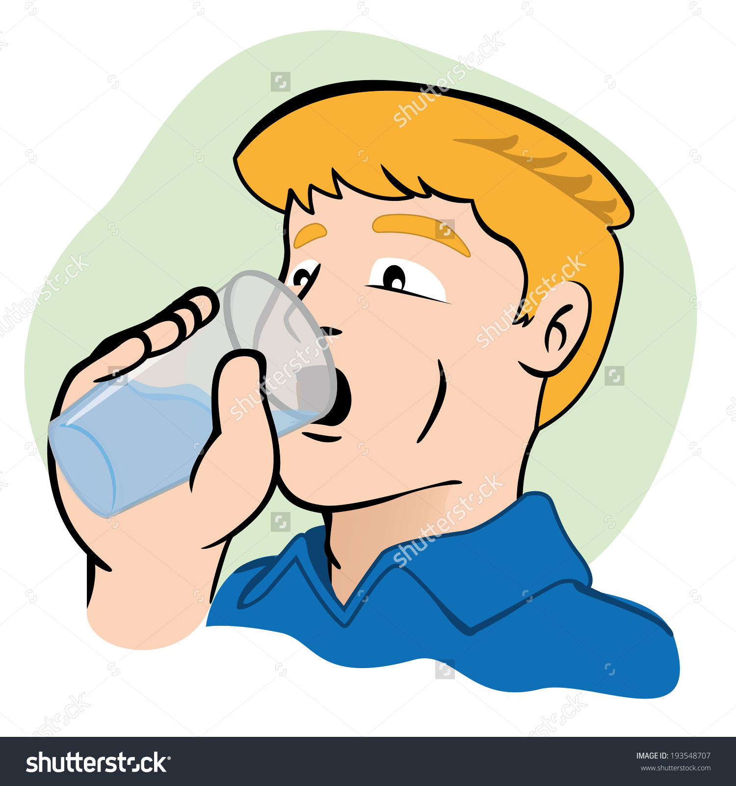 Someone drinking water clipart.