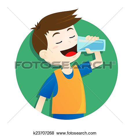 Clip Art of Boy drinking water k7783238.