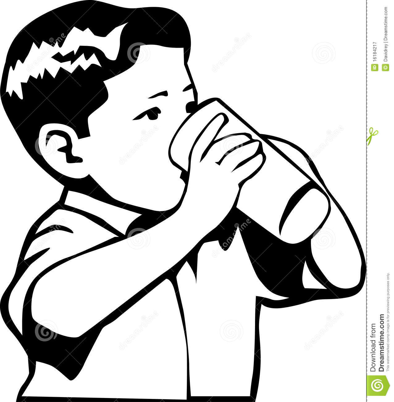 Kids Drinking Water Clipart Black And White.