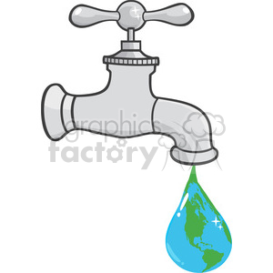 12881 RF Clipart Illustration Leaking Faucet The Earth Planet Droplet  clipart. Royalty.