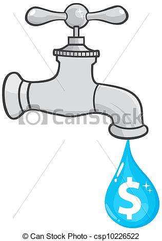 Vector Illustration of Water Faucet With Dollar Dripping.