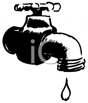 Royalty Free Clip Art Image: Leaky, dripping water faucet.