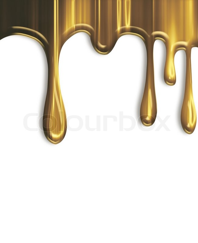 Dripping gold paint isolated on a white.