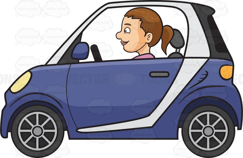 Woman Driving Car Clipart.