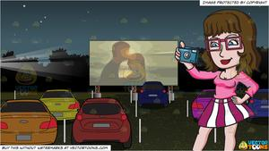 A Female Hipster Taking Photos and Drive In Movie Theater Background.