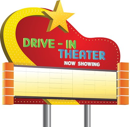 drive in theater sign banner Clipart Image.
