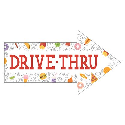 Signboard, indicating, Drive Thru, isolated, on white.