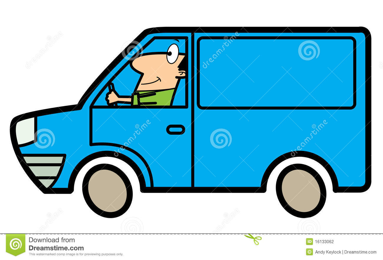 Cartoon Man Driving A Truck Stock Photography.