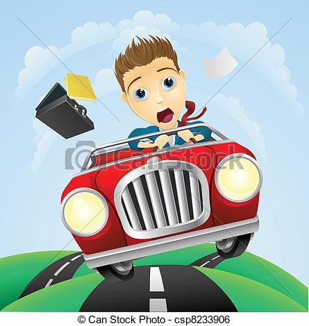 Clip Art Vector of Young businessman driving fast classic car.