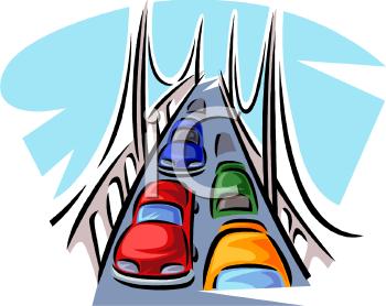 Cars Driving Over a Bridge.