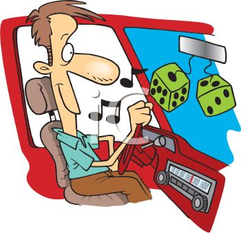 Cartoon of a Man Driving with the Radio On.