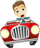 Clipart of Businessman driving car fast k13365571.