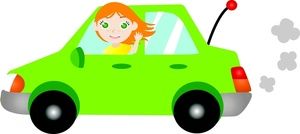 Beautiful girl driving a green car clipart.