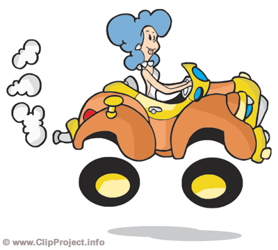 Woman driving car funny image clip art.
