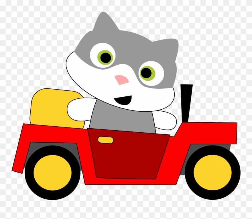 Clip Download Clipart A Cat Driving.