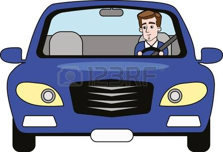Man Driving Car Front View Clipart.