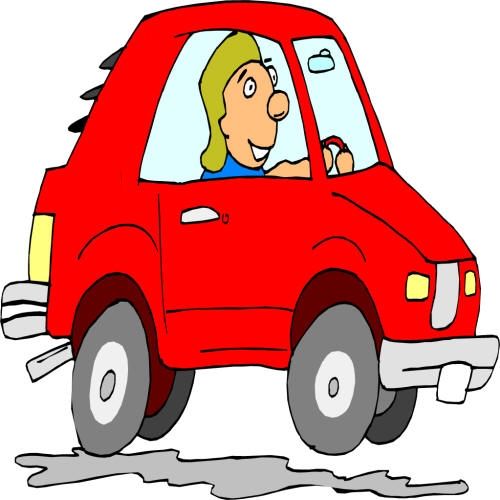 Person driving a car clipart.