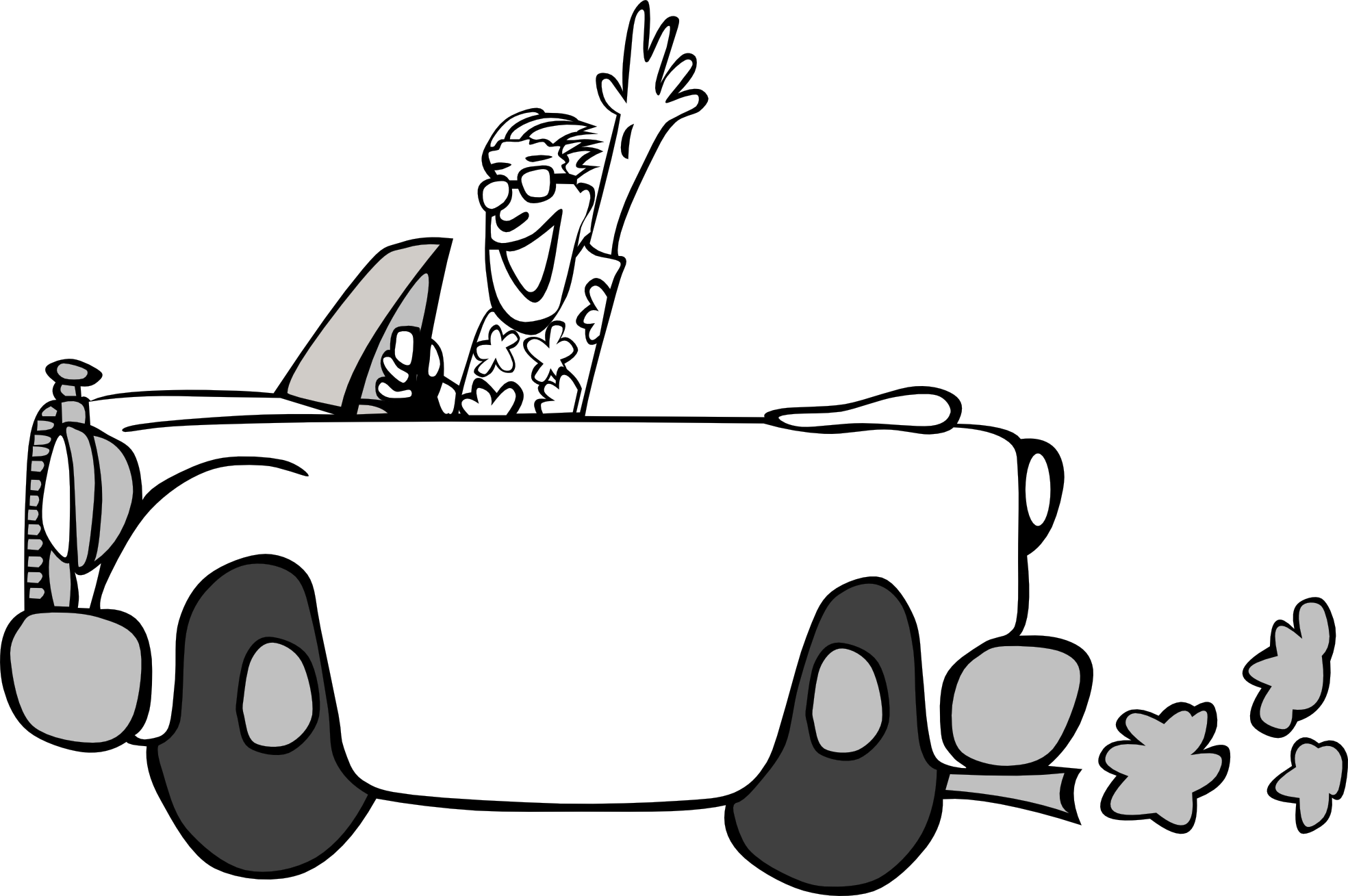 Driving A Car Clipart Black And White.