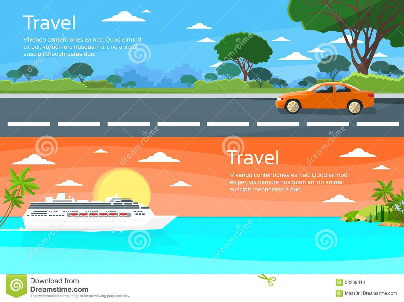 Travel Web Banner Car Drive Road, Cruise Ship Stock Vector.