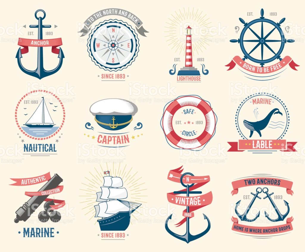 Fashion Nautical Logo Sailing Themed Label Or Icon With Ship Sign.