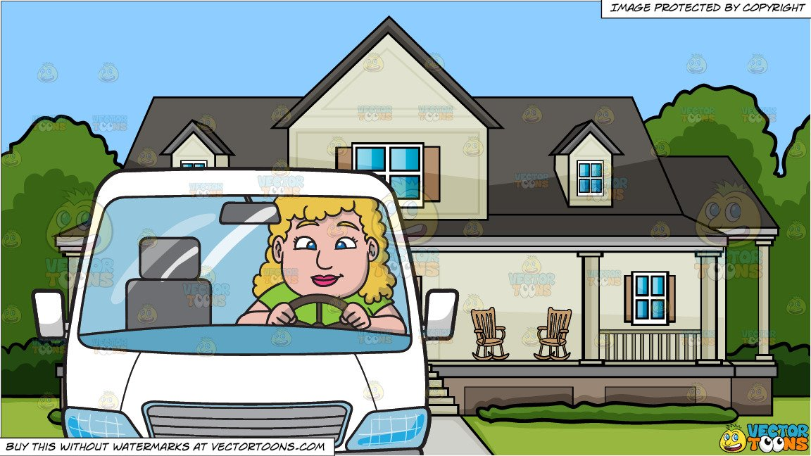 A Chubby Woman Driving A White Family Van and A House With Big Front Porch  Background.