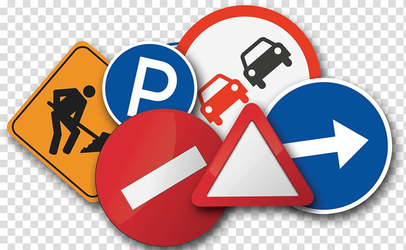 Assorted road sign lot, Car Driver\\\'s education School Test.