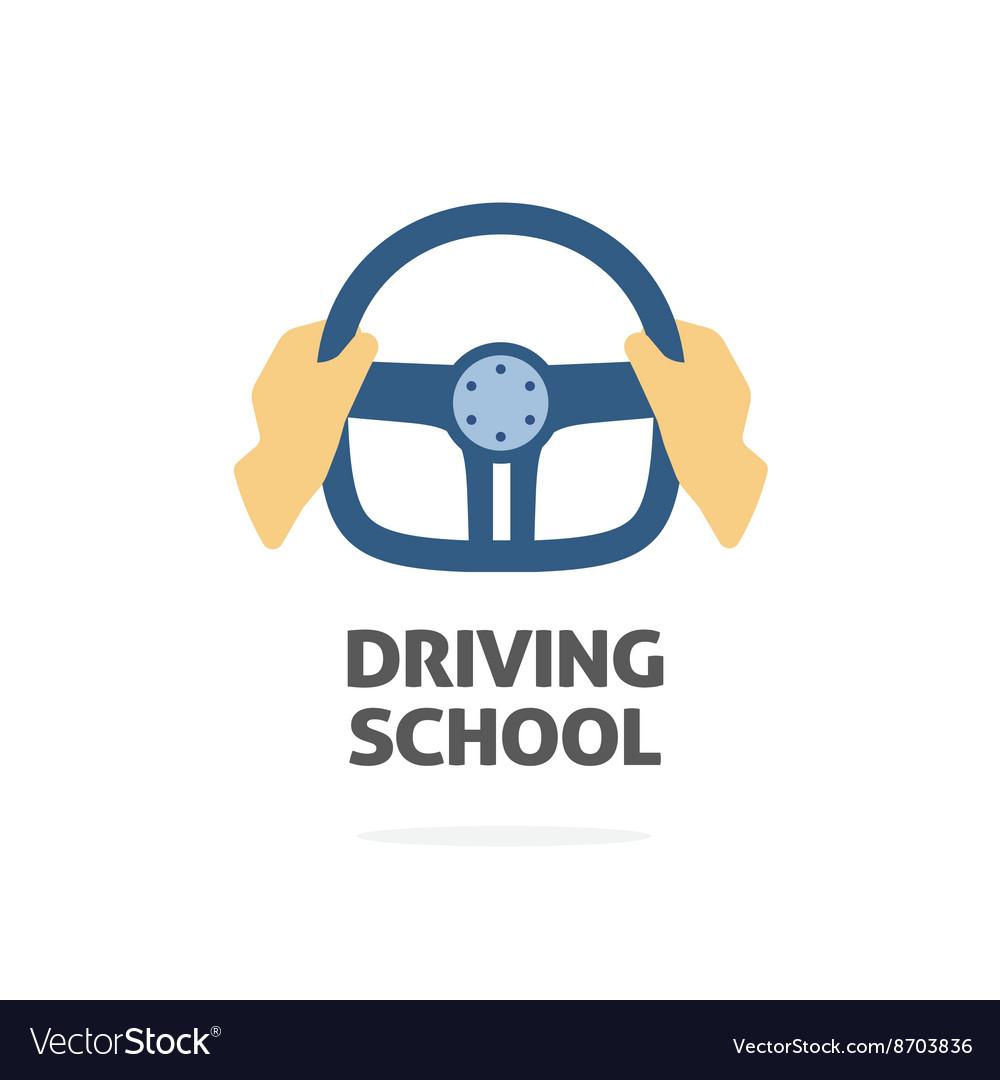 Driving school logo hands holding sport.