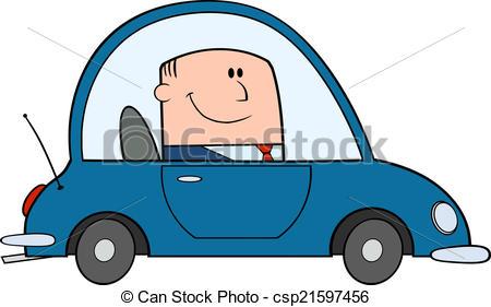 Clipart Vector of Businessman Driving Car To Work Cartoon.