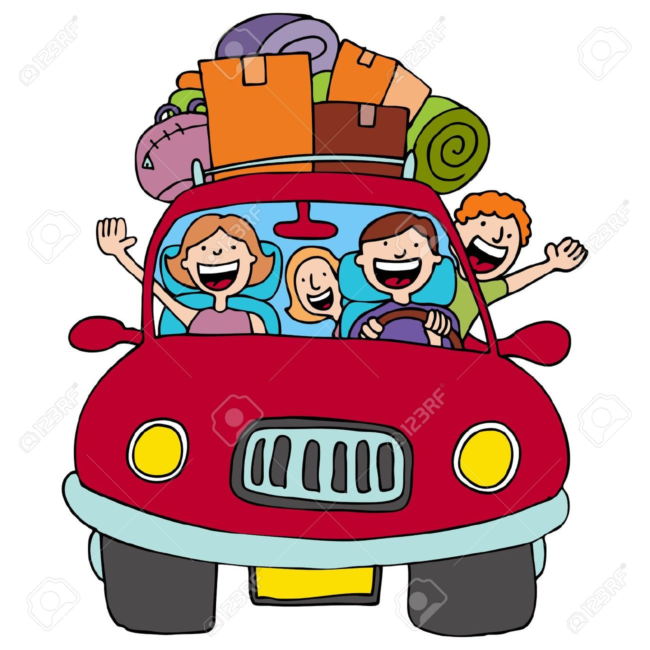 Driving in a car black family clipart.