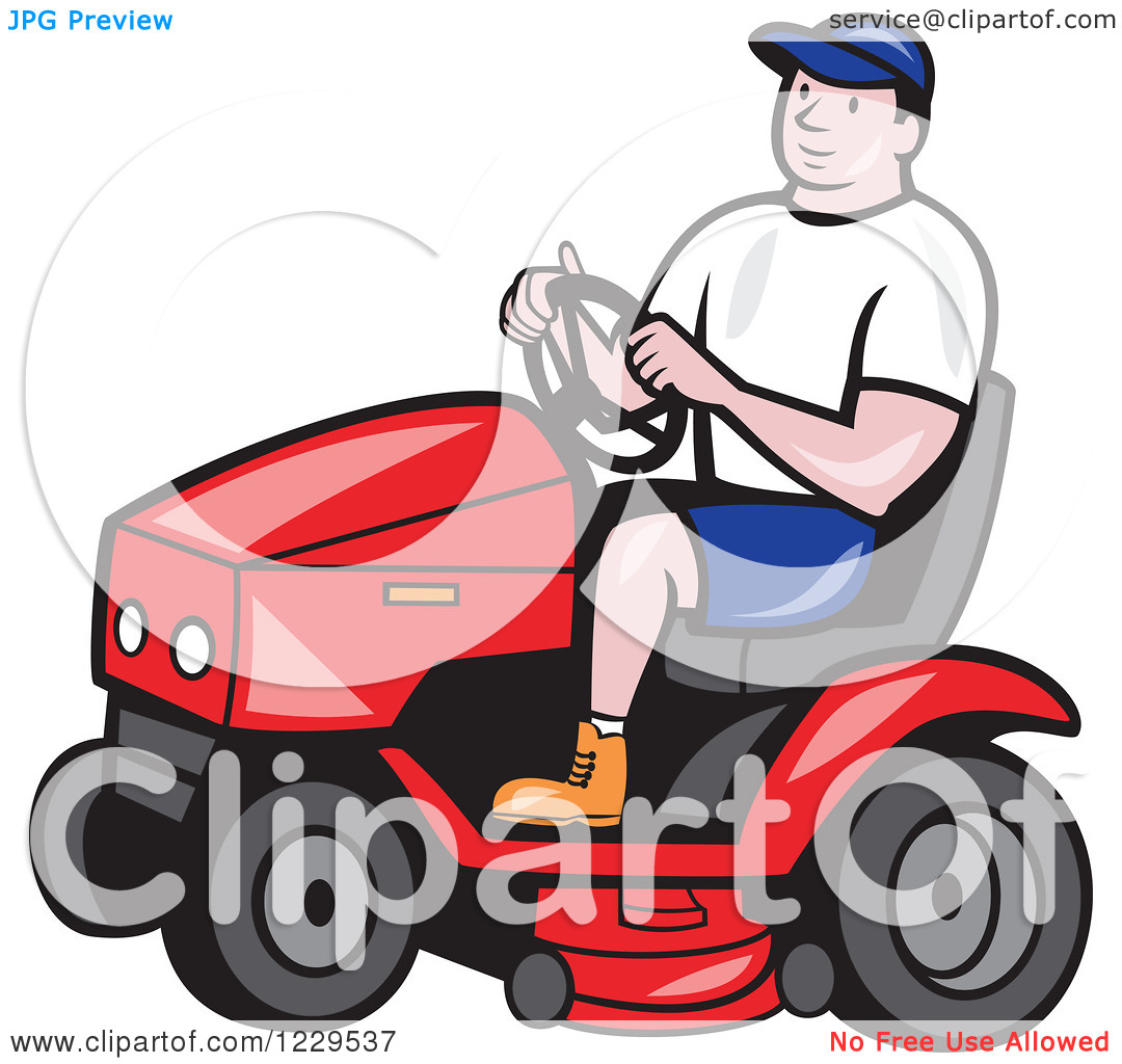 Clipart of a Gardener Man Driving a Red Tractor.