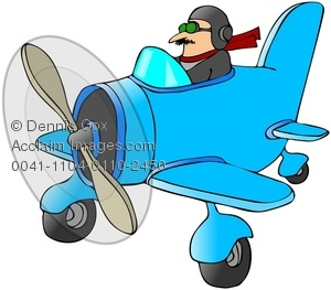 Clip Art Image: Pilot Flying A Small Plane.