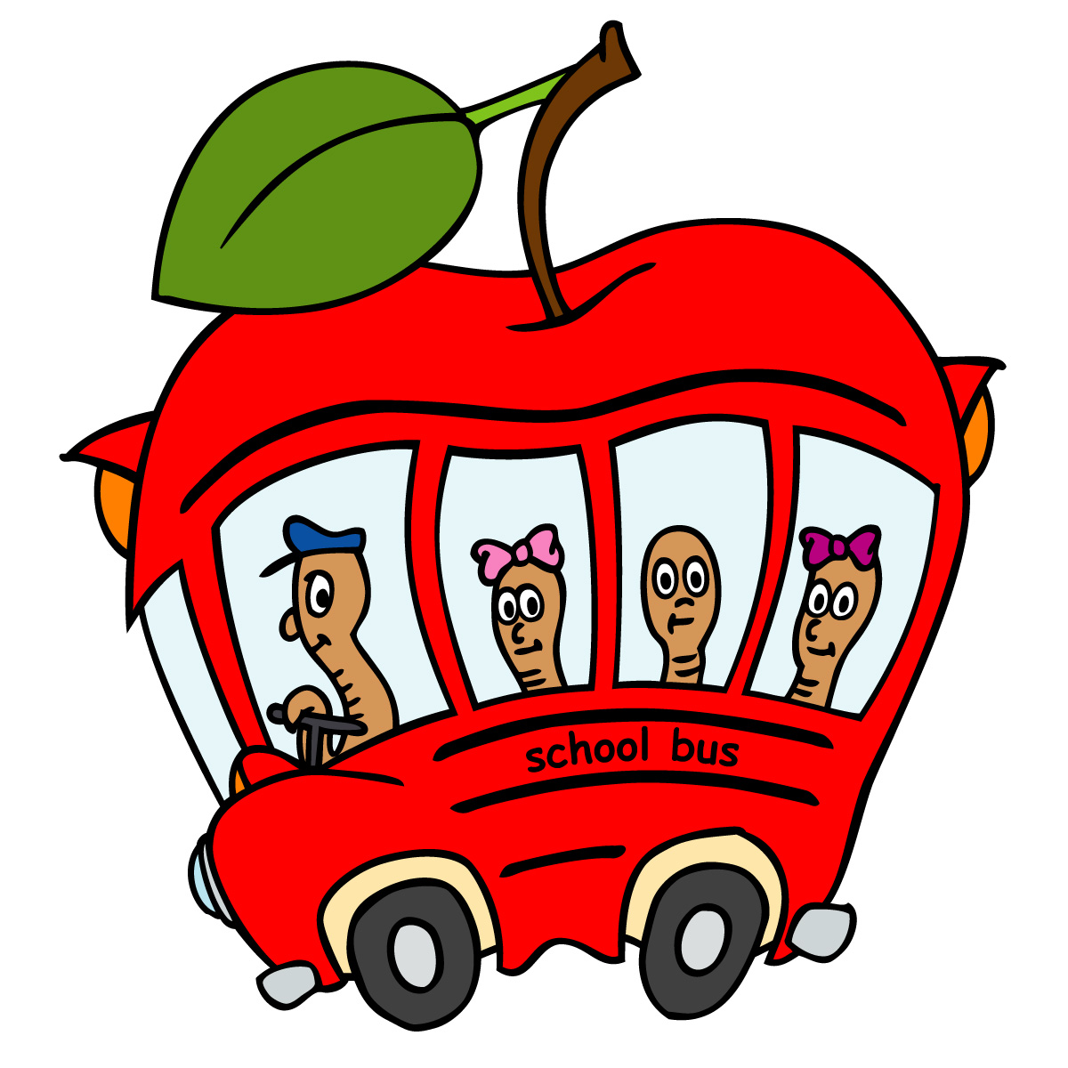 Driving school bus funny clipart.