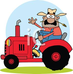 Farmer Driving a Tractor.