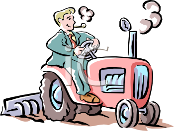 City Man, Wearing a Suit, Driving a Tractor Clip Art.