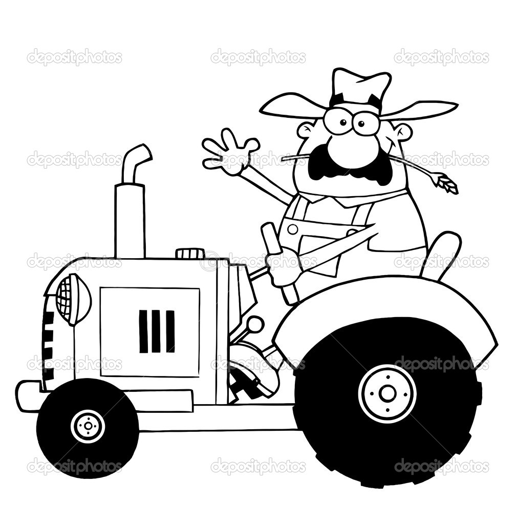 Outlined Farmer Waving And Driving A Tractor — Stock Photo.