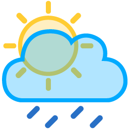 Sun Rays Cloud Drizzle Icon.