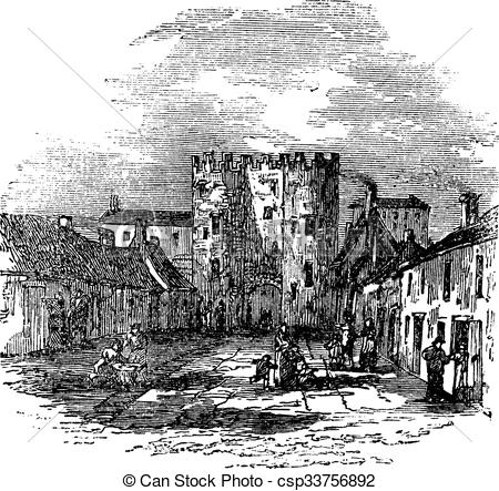 EPS Vectors of Drogheda in Leinster, Ireland, vintage engraving.