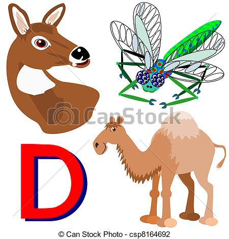 Vector Illustration of D deer, dragonfly, dromedary.