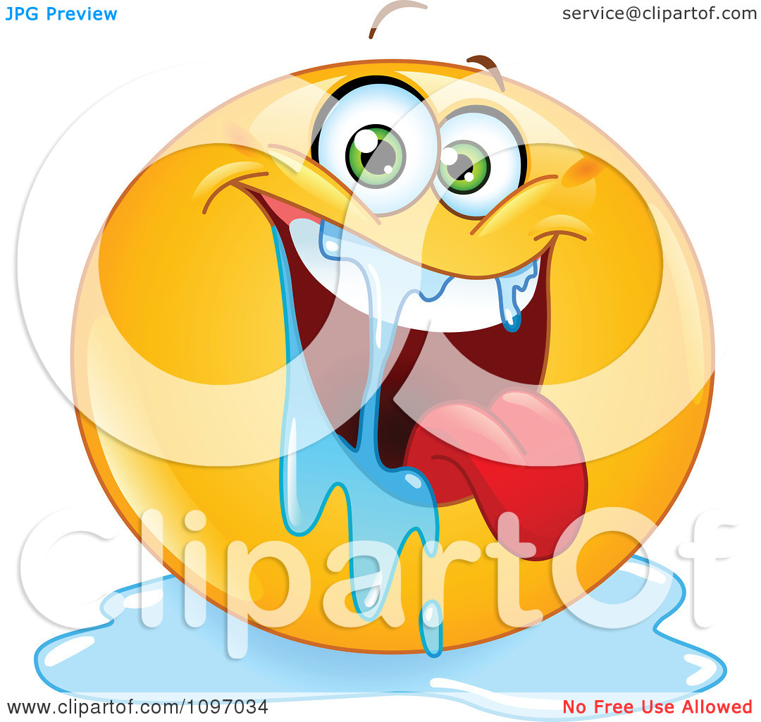 Clipart Happy Drooling Emoticon.