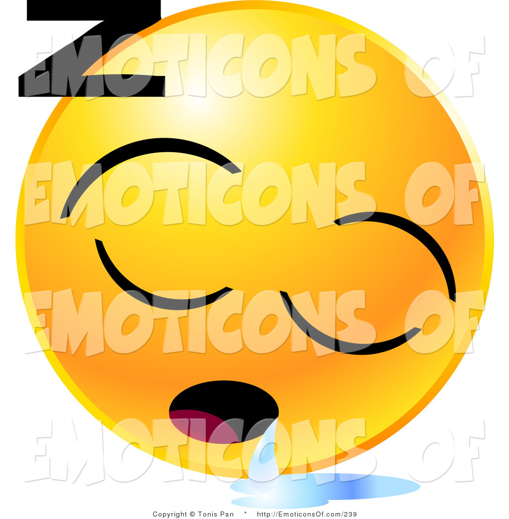 Clip Art Vector of a Round Yellow Emoticon Face Sleeping and.