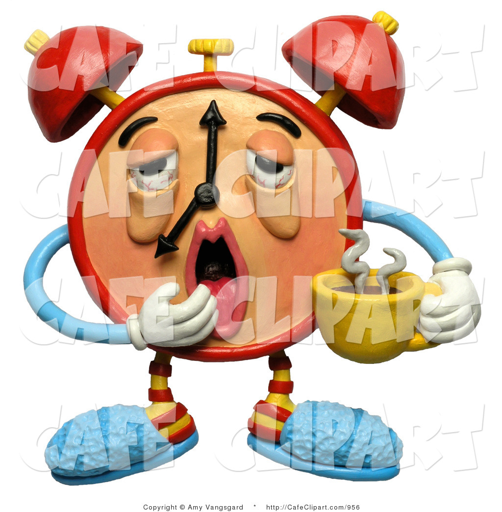Clip Art of a 3d Sleepy Alarm Clock with Drooping Eyes Yawning and.