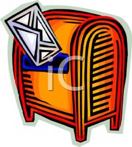 Art Image: An Envelope At a Post Office Drop Box.
