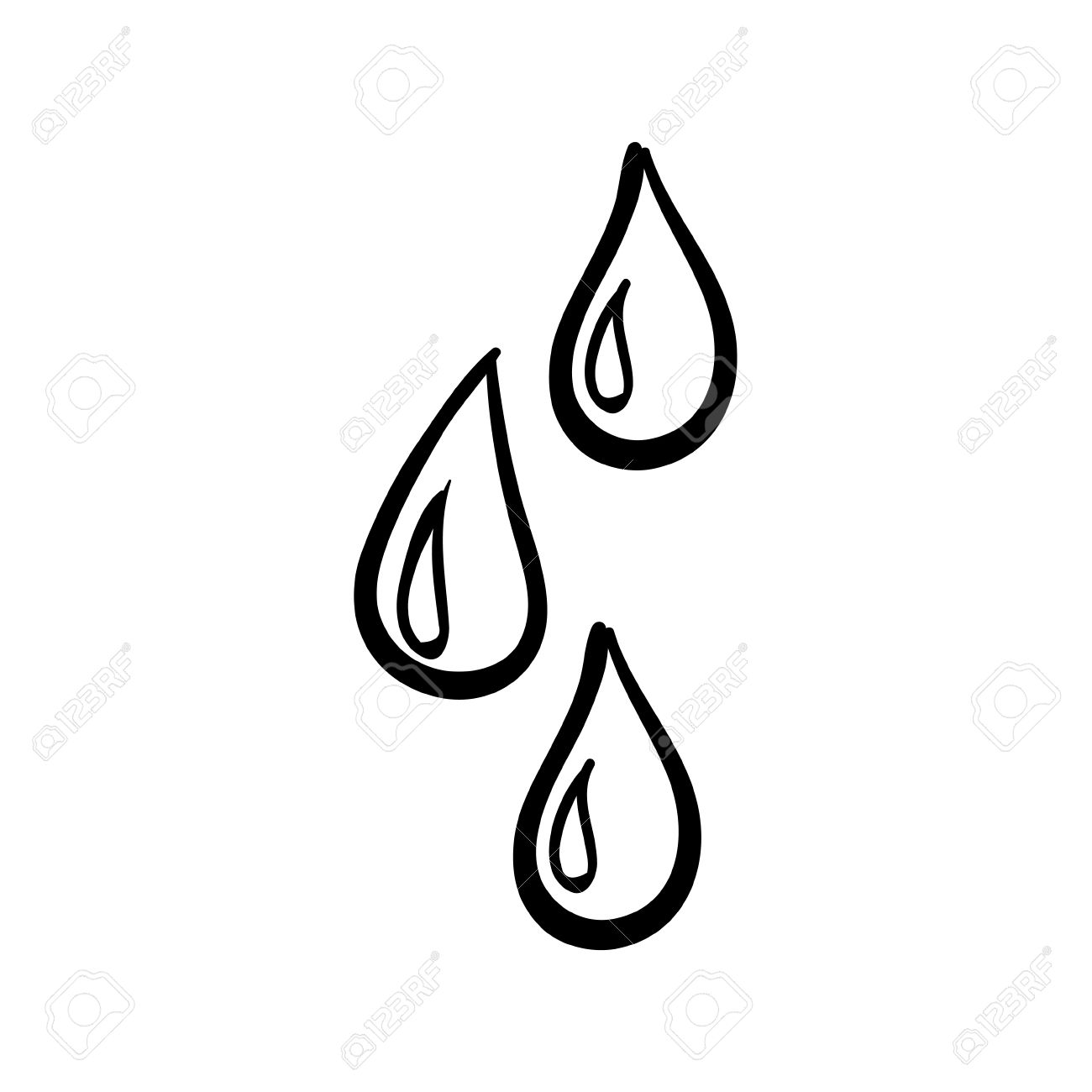 Vector hand drawn water drops. Black sketch on white background..