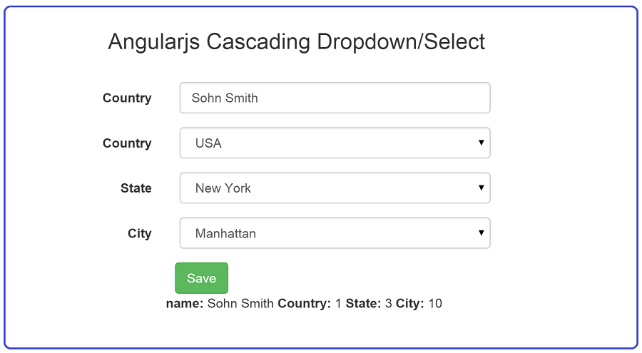 Angularjs Cascading Dropdown/Select with demo :: Advance Sharp.