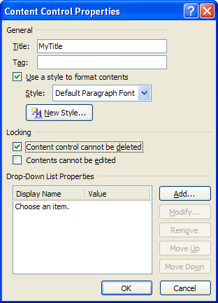 Inserting a Dropdown List control into your template : Controls.