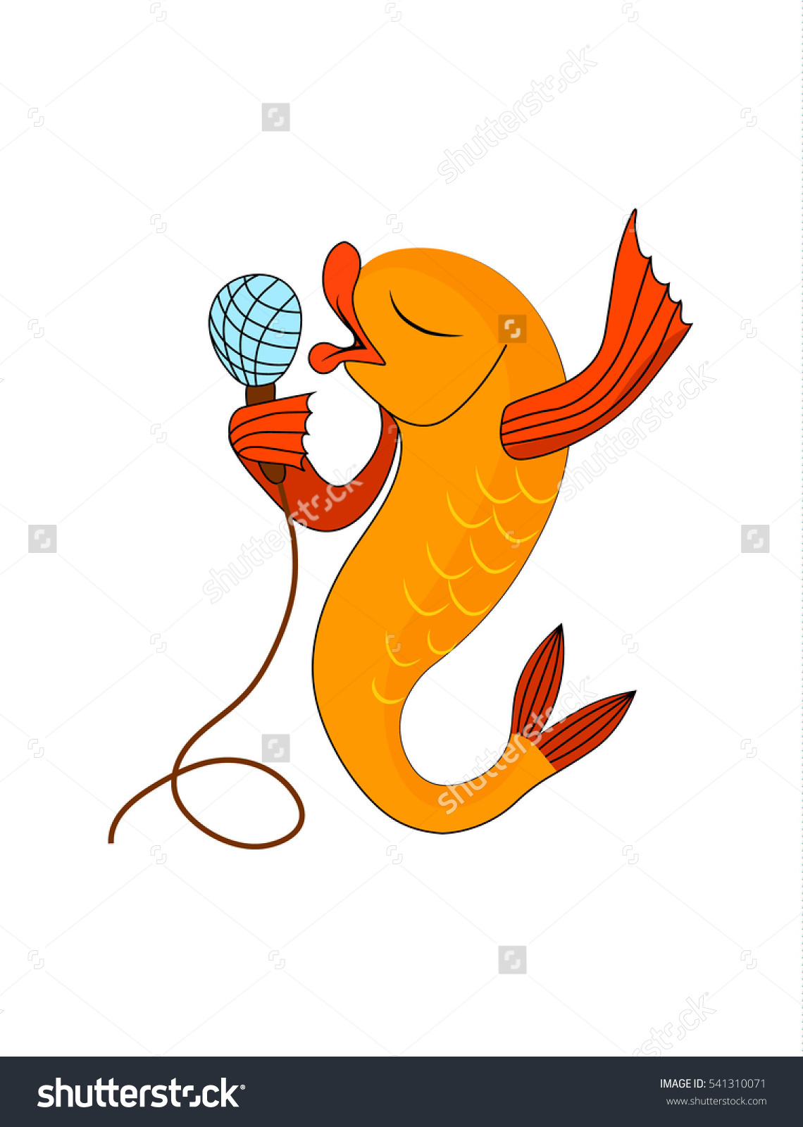 Yellow Singing Fish Microphone Vector Color Stock Vector 541310071.